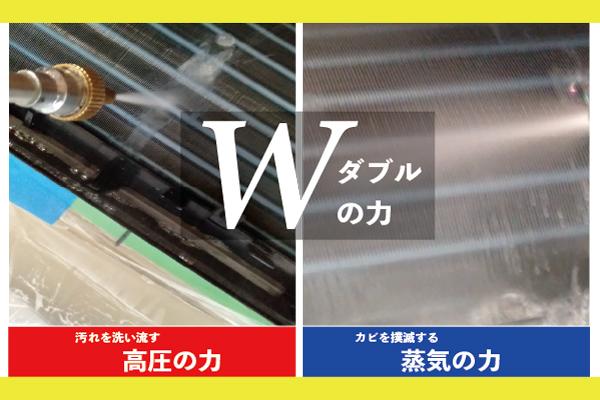 エアコンクリーニング 汚れを洗い流す高圧洗浄とカビを撲滅する蒸気の力 Wダブルの力の説明