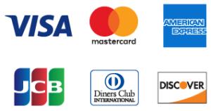 各種クレジットカード払いに対応しています!(VISA、Master Card、American Express、 JCB、Diners Club、Discover)